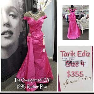 Tarik Ediz Pink Taffeta Gown NEW Size 4 92376